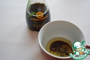 "For the filling, combine the soy sauce ""Kikkoman"" with balsamic, oil and mustard, add a pinch of oregano"