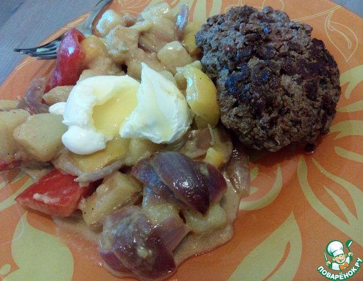 Рецепт: Бифштекс с теплым салатом и яйцом-пашот