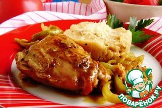 Рецепт: Пряные куриные бедра с манным гарниром