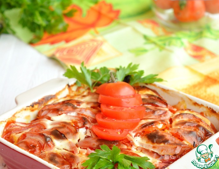 Рецепт: Минтай с овощами в духовке