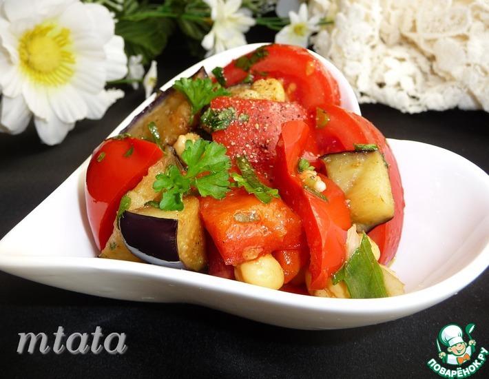 Рецепт: Салат с баклажаном и нутом