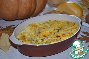 Shells baked with pumpkin and cheese