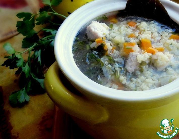 Рецепт: Куриный суп с пшеном и лимоном
