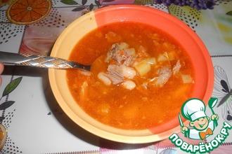 Рецепт: Мясной фасолевый суп Бюджетный