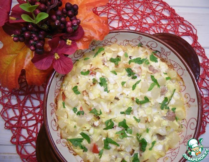 Рецепт: Запеканка с картофельно-мясными фрикадельками