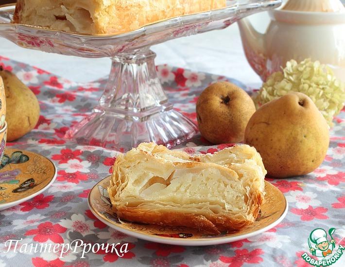 Рецепт: Грушевый пирог с йогуртной заливкой Дуновение