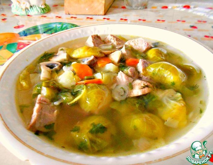 Рецепт: Суп из брюссельской капусты с шампиньонами