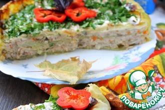 Рецепт: Торт из капусты и мясного фарша