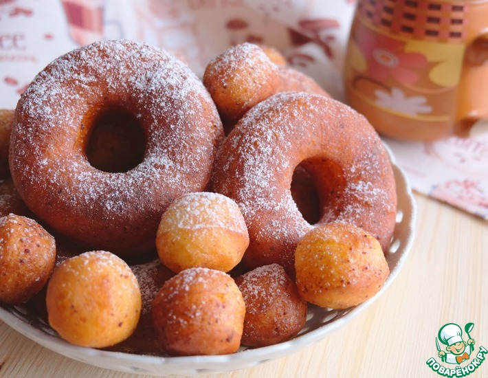 Рецепт: Воздушные пончики Творожные колечки