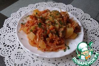 Рецепт: Овощное рагу с мясом на ужин
