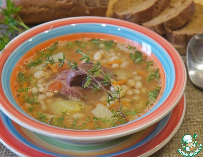 Рецепт: Фасолевый суп с яблоками и печенью
