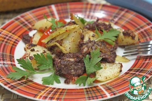 Рецепт Поджарка с кровяной колбасой