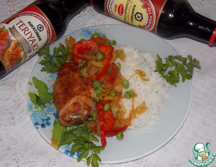 Рецепт: Курица с овощами и рисом