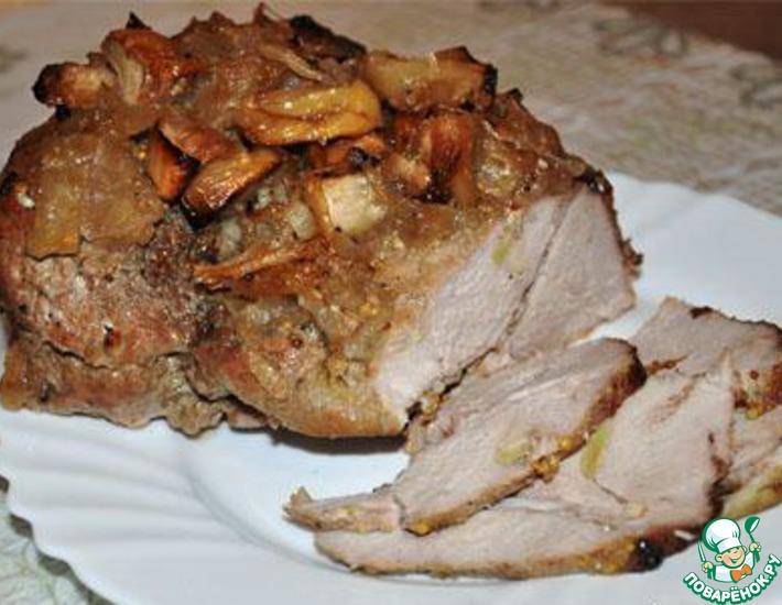 Рецепт: Свинина с мочеными яблоками