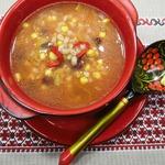 Суп с перловкой, фасолью и кукурузой