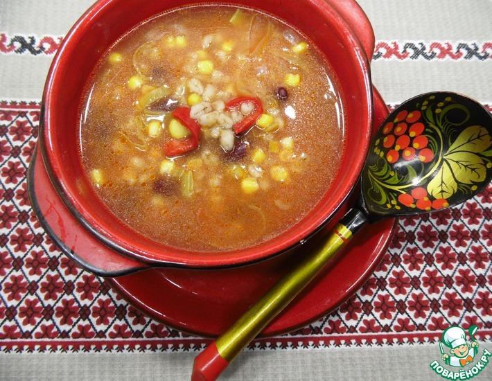 Рецепт: Суп с перловкой, фасолью и кукурузой
