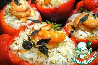 Рецепт: Перец, фаршированный рисом и креветками