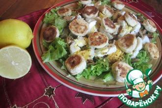 Рецепт: Салат с сырниками, грибами и яйцами