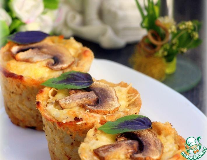 Рецепт: Рыбный жульен в картофельно-рисовых кокотницах