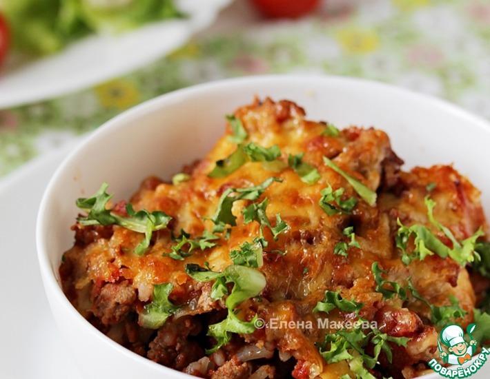 Рецепт: Мясная запеканка с рисом