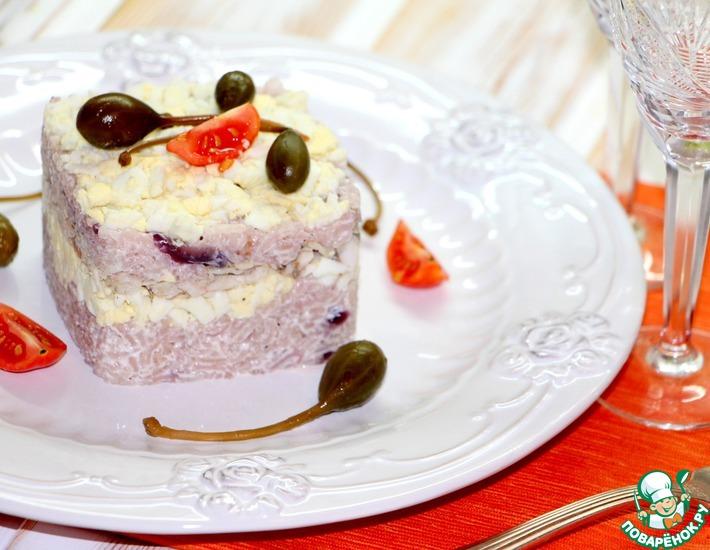 Рецепт: Рисовый салат с запеченной корюшкой