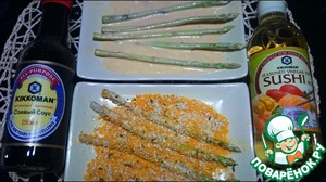 Asparagus is first lowered into mayonnaise mixture and then in breading.