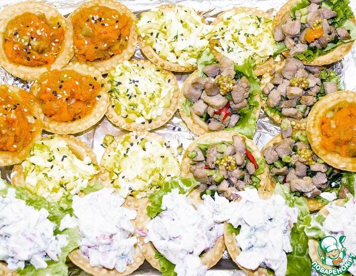 Рецепт: Быстрые закуски в тарталетках на праздничный стол