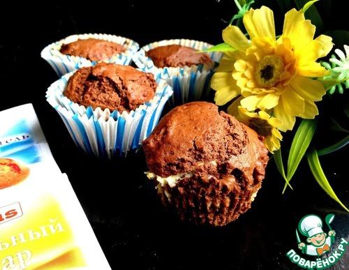 Рецепт Шоколадные кексы с творожным центром