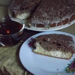 Шоколадно-сливочный кекс с творожными шариками