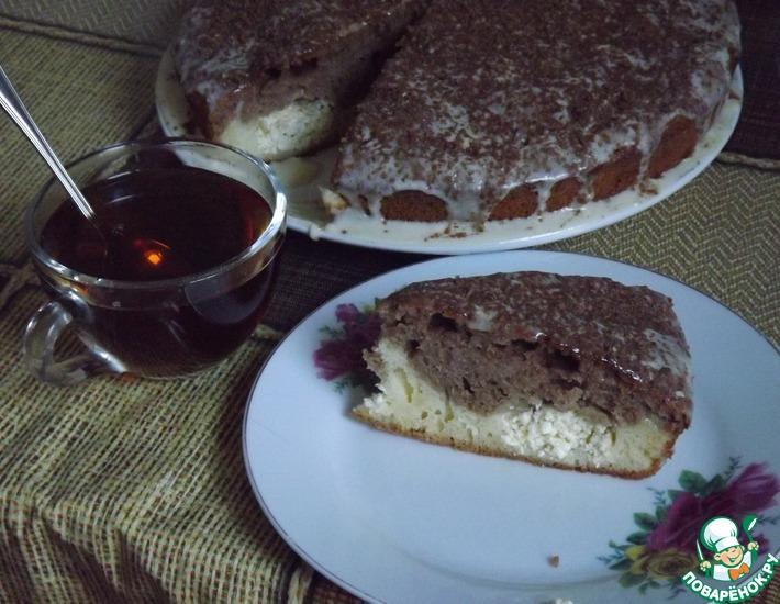 Рецепт: Шоколадно-сливочный кекс с творожными шариками