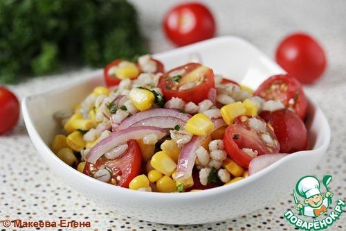 Рецепт Салат с перловкой, кукурузой и помидорами