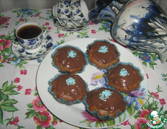 Рецепт: Шоколадные кексы с халвой