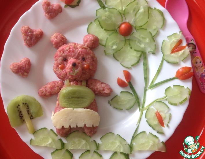 Рецепт: Овсяная каша Розовый мишка