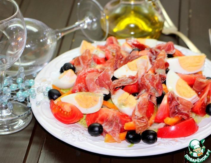 Рецепт: Салат Эстепона с сыровяленой ветчиной