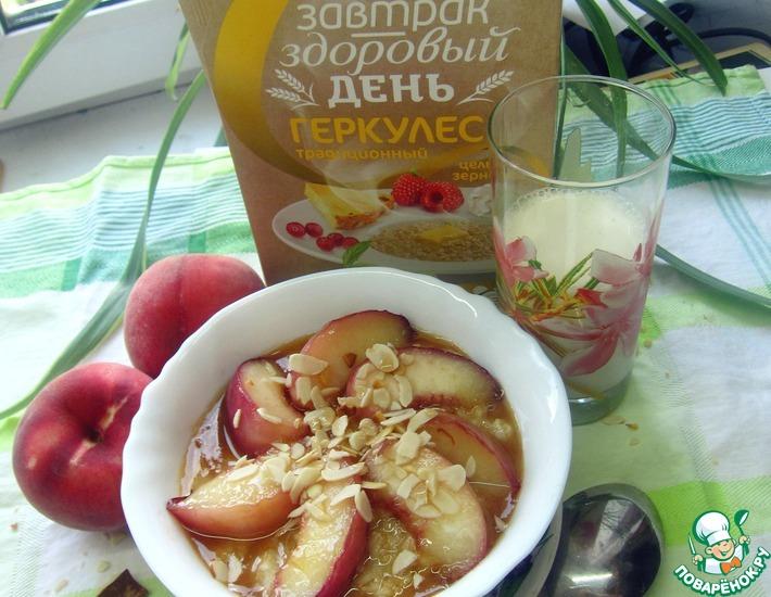 Рецепт: Каша-десерт с карамелизированным персиком