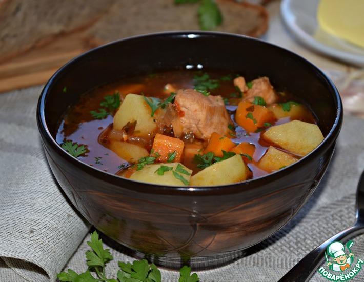 Рецепт: Густой суп с пивом Осенний