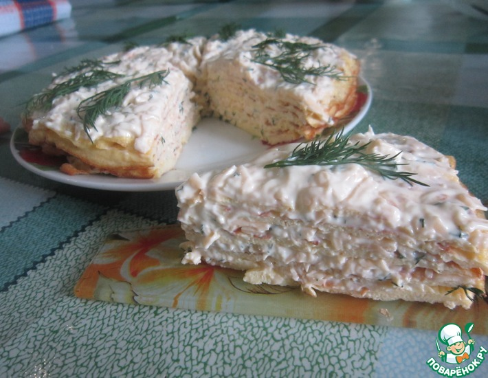 Рецепт: Торт закусочный из яичных блинов