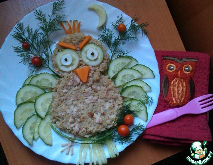 Рецепт: Овсяная каша с курицей Сова
