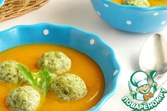 Рецепт: Овощной суп-пюре с куриными фрикадельками