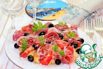 Рецепт: Картофельный салат с овощами и ветчиной