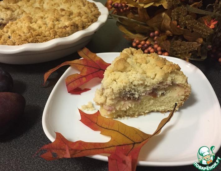 Рецепт: Миндально-сливовый пирог со штрейзелем