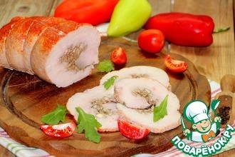 Рецепт: Индюшиный рулет с горчично-ореховой начинкой