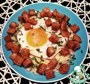 Oatmeal with cheese, egg, croutons