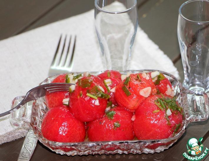 Рецепт: Суточные помидоры Голенькие без уксуса