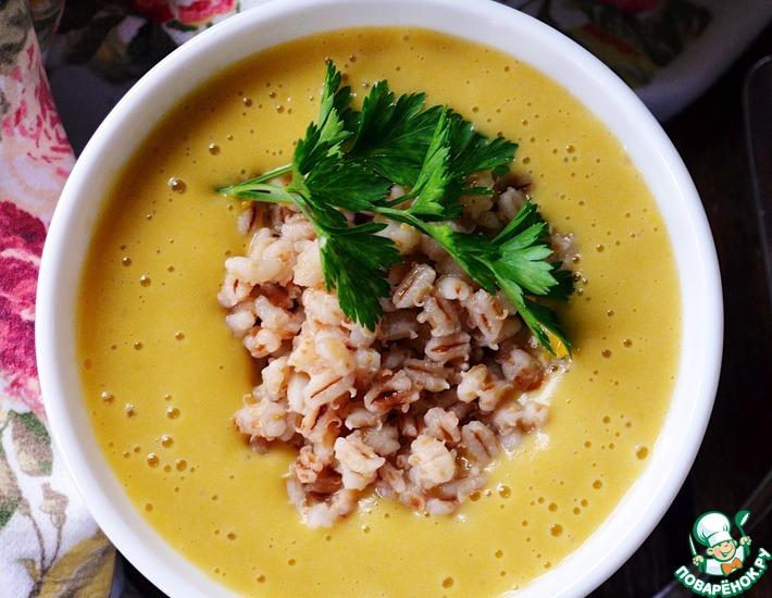 Рецепт: Овощной суп-пюре с жареной перловкой