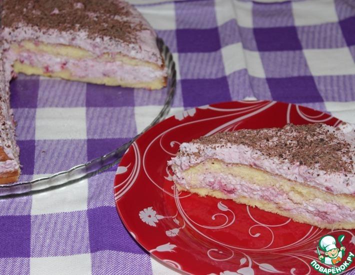 Рецепт: Малиновый торт со сливочным сыром