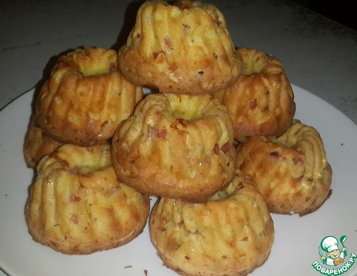 Рецепт: Кексы с сыром и ветчиной