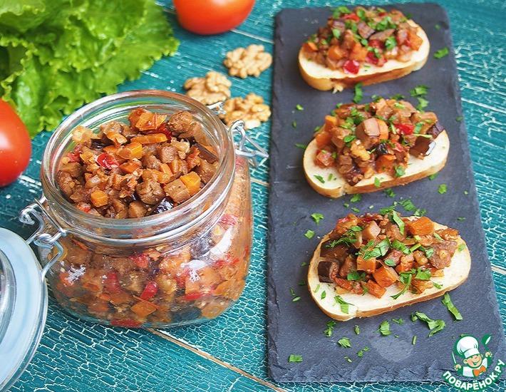Рецепт: Баклажанная икра с грецкими орехами