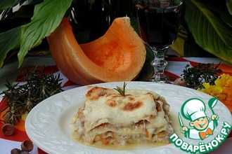 Рецепт: Лазанья с мясным рагу и тыквой