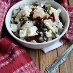 Тёплый рисовый салат с запеченными баклажанами
